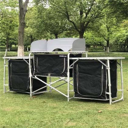 Outdoor camping kitchen aluminum alloy folding table mobile dapur meja camping equipment